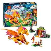 Bela 10503 Elves Fire Dragon S Lava Cave 446pcs Set Lepin Fairy 41175 Building Block Toys
