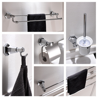 European Style Bathroom Hardware Pendant Chrome Finish Solid Brass Robe Hook Bathroom Accessories Towel Rack Soap