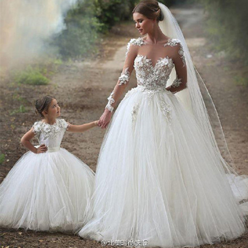 Mommy Baby Mother Daughter Wedding Dresses Flower Party Mama and Girls Bridesmaid Tutu Maxi Long Dress Family Matching Clothes Платье