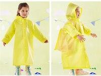 EVA Yellow Kids Raincoat Backpack Hat Boys Girls Rain Coat Waterproof Raincoat Children Bag Poncho Capa De Chuva Infantil 50yc92