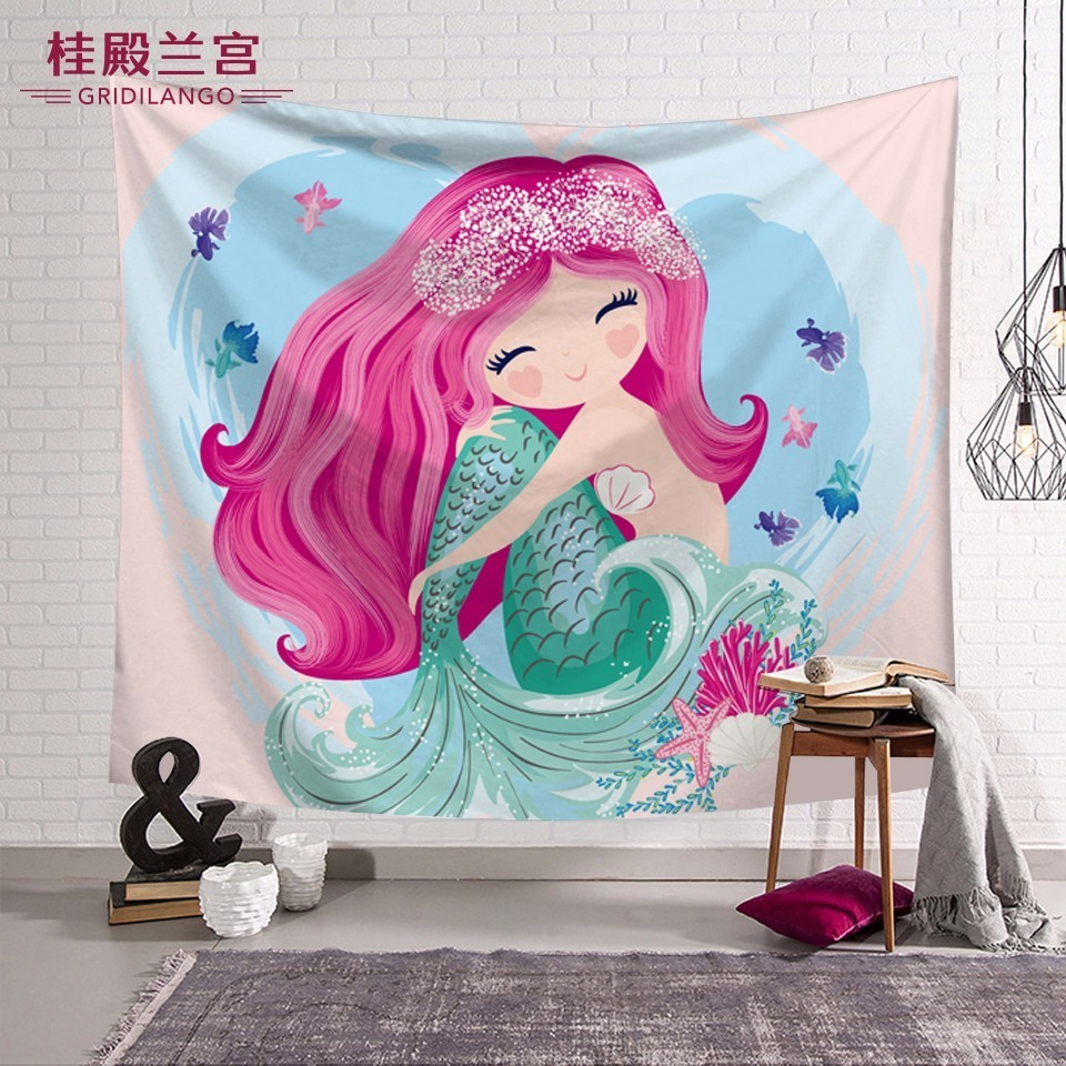 Customized Pink Mermaid Princess Tapestry Wall Hanging Carpet For Girls Gifts Printed Bed Sheet Table Cloth Play Mat Home Decor