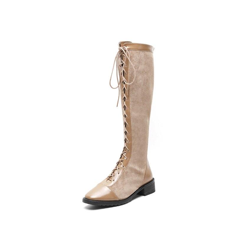 Longue Automne Kaki Dames Genou En Bottes 2018 Up Smirnova Nouveau Lace Noir Cuir Chaussures Haute Hauts Femme Suédé khaki Élégant Talons 5Aj3RL4