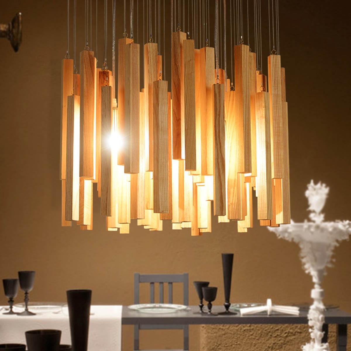 Modern Chandelier Solid Natural Batten Wood Art