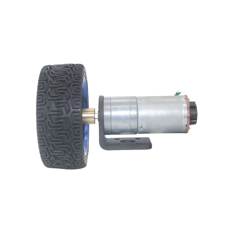 DC 6V DIY Encoder Gear Motor with Mounting Bracket 65mm Wheel Kit Micro Speed Reduction Motor Mini Gear Box Motor for Smart Car Robot Model DIY Engine Toy 1300RPM