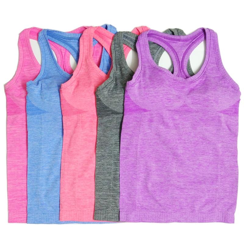Women'S Yoga Sleeveless Shirts Running Sports Elastic Breathable Gym Fitness Vest Ladies Girls Exercise Tank Tops Bra Pink
