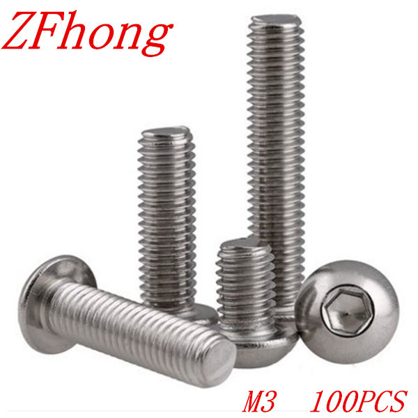 100PCS ISO7380 M3*4/5/6/8/10/12/14/16/18/20/22/25/28/30/35/40/45/50 3mm Stainless Steel Hexagon Socket Button Head Screw