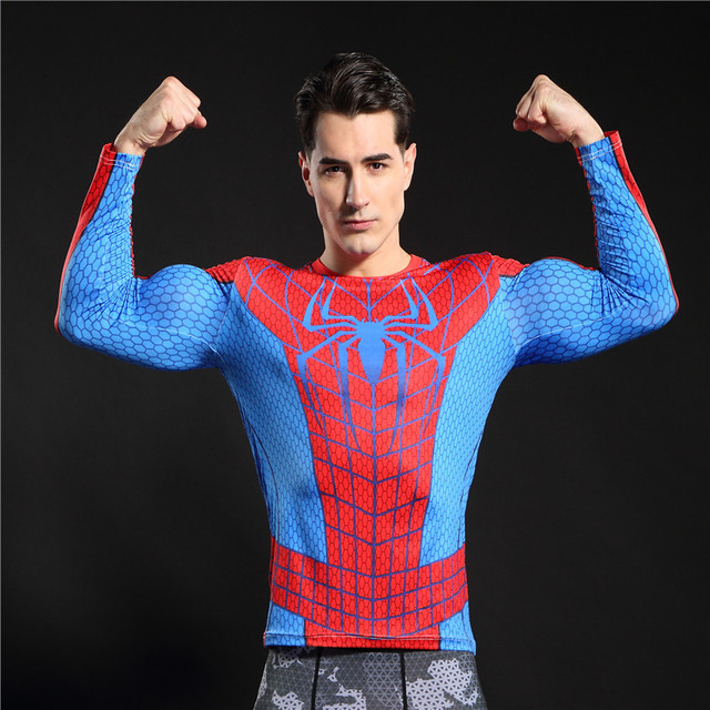Gyms Clothing Fitness Compression Shirt Men Superman Batman Red spider man Bodybuilding Long Sleeve 3D T Shirt Crossfit Tops