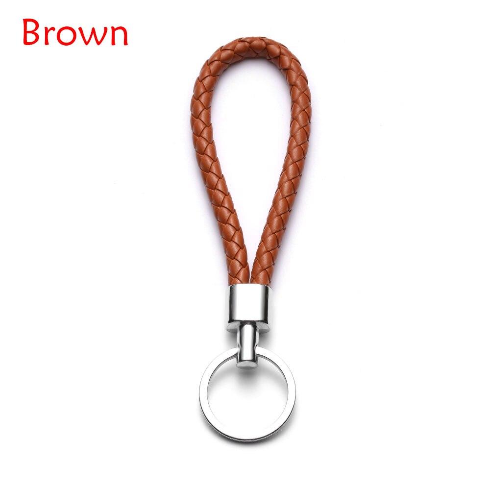 13 цветов ручной работы плетеная брелок для ключей кожаный брелок автомобильный брелок Прямая - Название цвета: brown