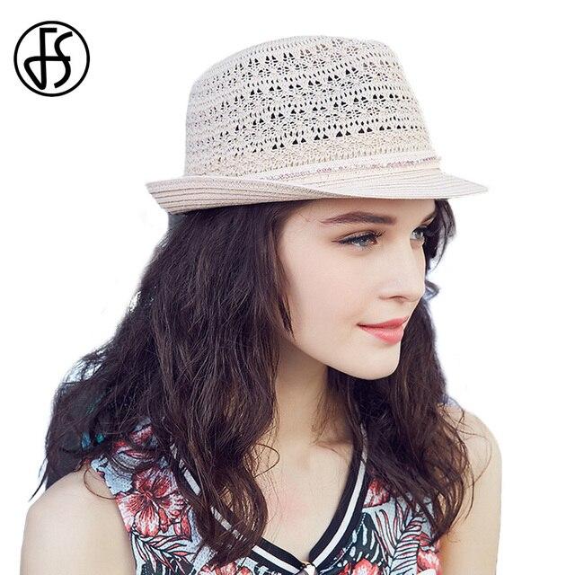 FS moda de verano Panamá sombrero de paja para las mujeres de la vendimia elegante  Sol 29422e26771