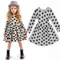 Girls Cotton Dress 2016 New Autumn Kids Cat Dress Children Elastic Dress Toddler Clothes Baby Infant Dress,2-6Y