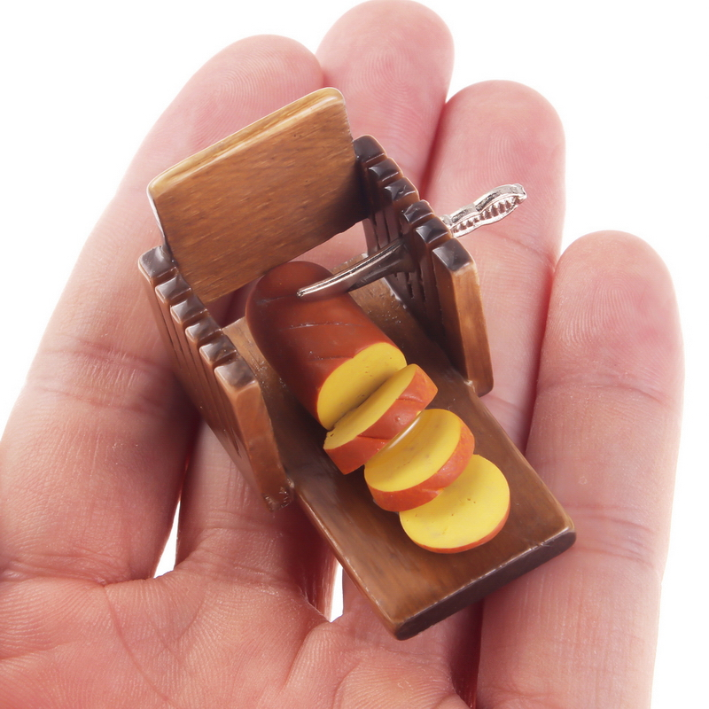 1:12 Dollhouse Miniature Puppet Wooden Kitchenware Supplies Model Bread Slicer Toast Sheet Cutter Shokugan Food Toy Accessory ...