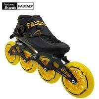 PASENDI Профессиональный Скорость катание обувь углеродного волокна роликовые коньки 4 колеса взрослых детей, для крупных Patines Новый