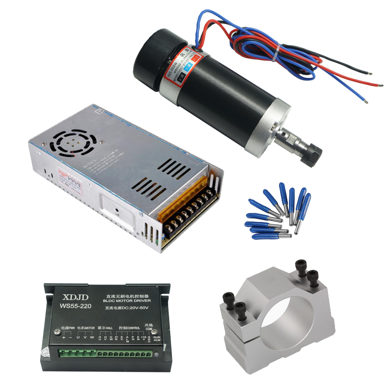 ER11 Brushless 500W DC Spindle CNC machine Router 55MM Clamp Stepper Motor Driver Power Supply 3.175mm cnc tools cuccio 240g