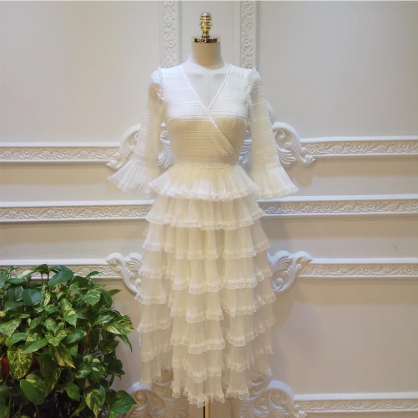 Cascade volants gâteau style robe blanche femme plage vacances gâteau style col en v mode falre manches robe wq1986
