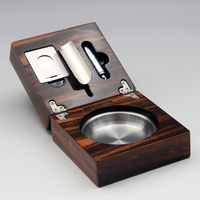 Portable Foldable Stainless Steel Smoke Cigar Ashtray with Cigar Cutter Cigar Soco Soild Wooden Slot LW01017427