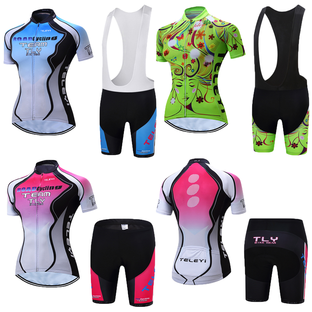 Pro 2020 woman short sleeve cycling jersey set sports outfit <font><b>bike</b></font> clothing kit mtb maillot cyclist bicycle clothes uniforme <font><b>wear</b></font> image