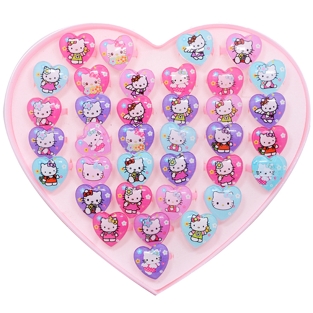 7e623719a Hot Sale 10Pcs/lot Mixed Cute Heart Shape Animal Cat Hello Kitty Rings for Child  Kids Girls Baby Ring Jewelry Toy Party Gift