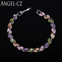 ANGELCZ Delicate Marquise Austrian Purple Pink Green Crystal Silver Color Friendship Bracelet For Women Handmade Jewelry AB071