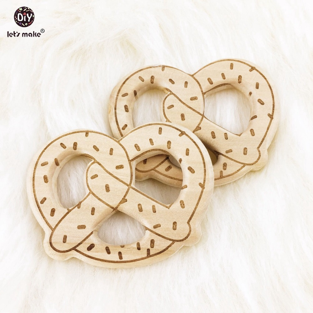 Let's Make 12pcs Wooden Bread Teething Wood Pretzels Can Chew Nursing Accessories Necklace Pendant Wooden Teether Bracelet