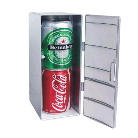 Free Shipping 1Piece Two Cans USB Fridge Shaped Cooler and Warmer Portable USB Freezer