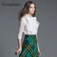 Glouphant 2017 Autumn OL Pearl Buttons Chiffon Striped Blouse Women Shirts Office Casual Summer Women S