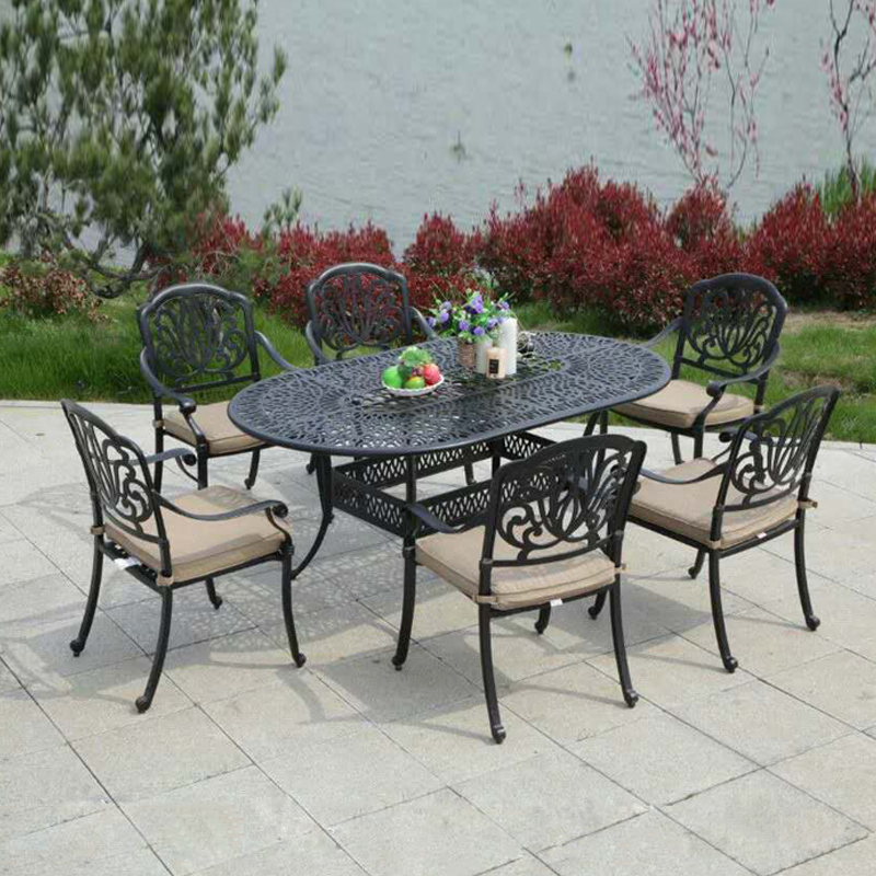 Garden Cast Aluminum Set Oval Table With 6 Chairs Metal Furniture 7pcs Set