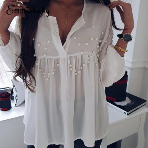 8c44960bc5ff4c Aliexpress.com : Buy UK Womens Nail Bead Transparent Long Sleeve Chiffon  Blouse Embroidered Flares V Neck Ruffles Solid Shirt Tops 2018 New Fashion  from ...