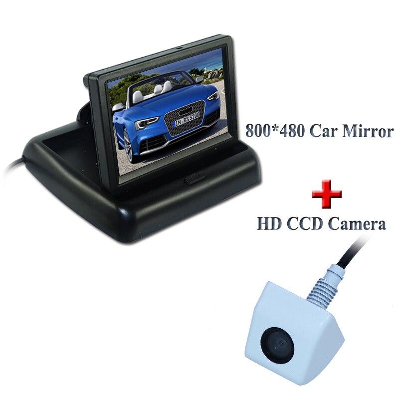Автомобиль Парковочные системы Системы, Ночное Видение заднего вида Камера с 4.3 дюймов Цвет водить автомобиль зеркало Мониторы