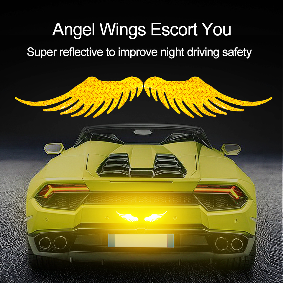 Car Sticker Safety Warning Reflective Angel Wings Reflective Warning Sign Funny Bike Decal Sticker Motorbike Reflective Sticker image