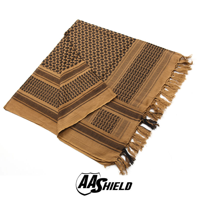 AA Shield Military Arab Lightweight Scarf Desert Tactical Shemagh Army KeffIyeh Outdoor Hunting Scarf Multiple Color Tan