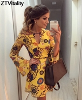 New Arrival Yellow Print V Neck Flare Sleeve Vestido De Festa Fashion Women Dresses Sexy Club