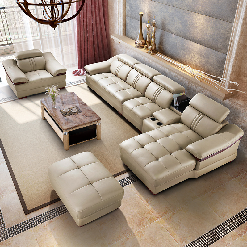 Leather Sofa Living Room Corner Set 6 Pcs