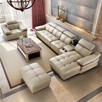 Leather Sofa, Living Room Corner Sofa Set 6 pcs