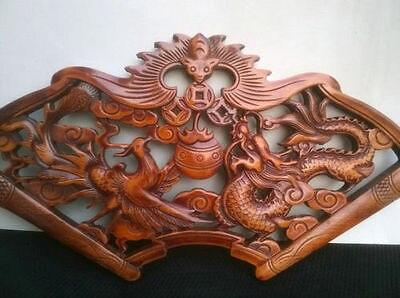 Délicat Attisé Chinois Traditionnel Artisanat Classique De Camphre Bois Tenture-Dragon et Phoenix - 2