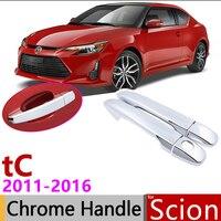 Dla Scion tC AT20 2011 ~ 2016 Chrome drzwi zewnętrzne osłona klamki naklejki do samochodów tapicerka zestaw 2 drzwi 2012 2013 2014 2015 w Naklejki samochodowe od Samochody i motocykle na