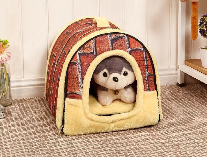 CAWAYI KENNEL Dual Use Soft Plush Dog Bed Dog Kennel Pet House For Puppy Dogs Cat Small Animals Mat U0856 4