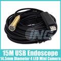 14.5mm USB Endoscópio com 4 LED À Prova D' Água Câmera Endoscópio Inspeção Camera Endoscópio 15 M Cabo USB