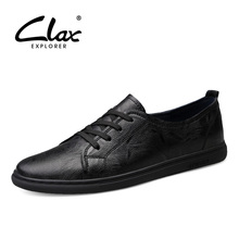CLAX Man Shoes Leather 2019 Spring Summer Mens Casual Shoe Male Walking Footwear White