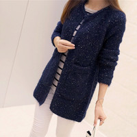 2016 New Arrivals Fashion Pocket Glitter Pattern Cardigans Female Sweaters Long Sleeve Knitted Slim Women Sweater