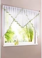Rope hooks top Ribbon hem Tulle window treatments Triangular Style window curtain for kitchen balcony livingroom 1 Set
