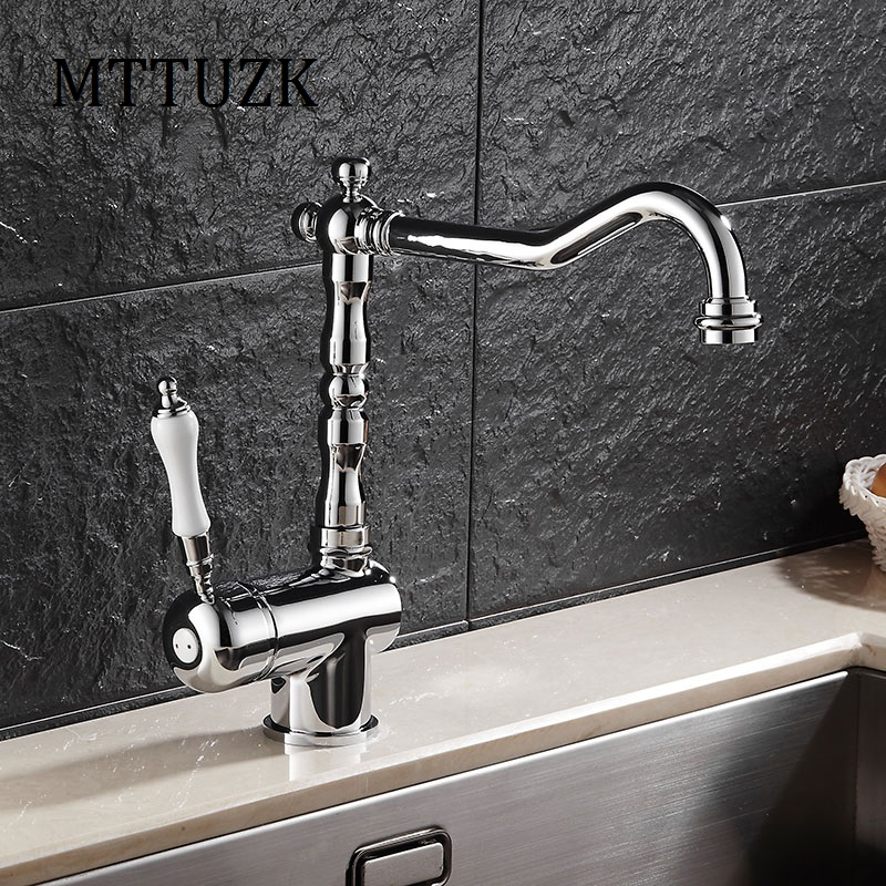 Chrome Kitchen Faucet California Pizza App Mttuzk Vintage European Style Sing Handle Sink Tap Brass 360 Rotatable Hot And Cold Basin Mixer In Faucets From Home