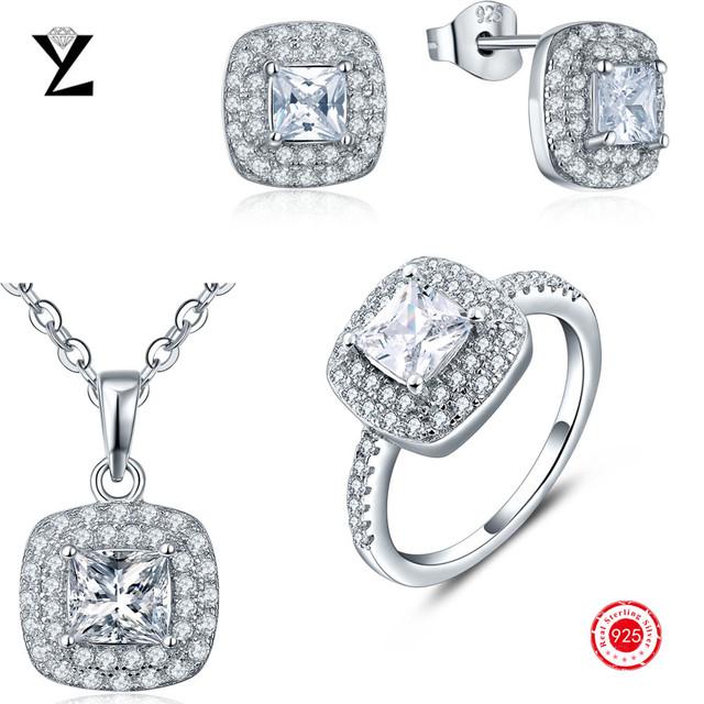Conjunto de jóias de casamento clássico do vintage 100% puro de 925 libras esterlinas colar de prata/anel/parafuso prisioneiro brincos para mulheres com CZ diamante
