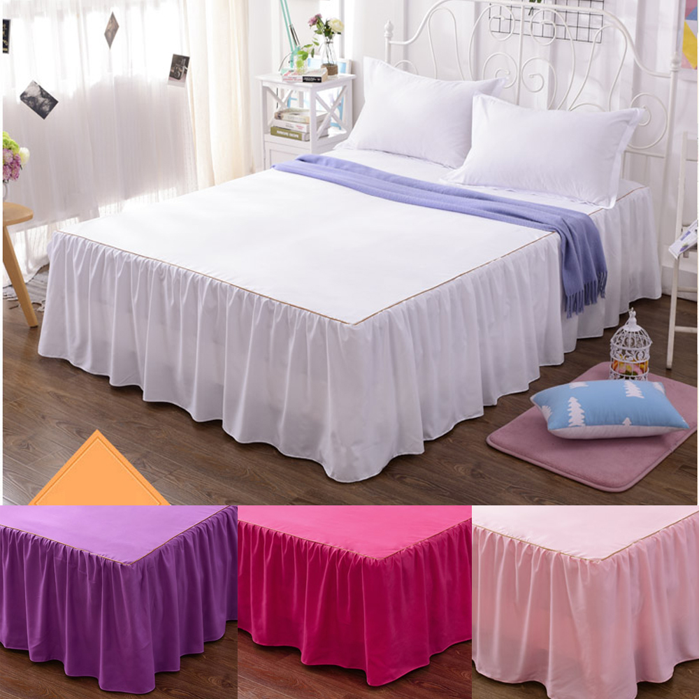 Cotton Solid Color Bed Skirts Pillowcase bed sheet bedding set Lace Bed skirt,mattress cover,ruffled Bedspread hotel bed skirt