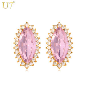 U7 Crystal Pink Earrings Trendy Gold Color 7 Colors Luxury Crystal  Rhinestone Jewelry Earrings For Women E444 9a6f945ad175