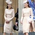 New Europeia Moda Kate Middleton Ruffled Marfim Terno Princesa Kate Magro Manga Comprida Vestido FREESHIPPING vestido de renda bege