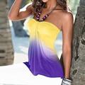 Женщины Sexy Бретелек Блузка Топы 2016 Летние Дамы Slash Образным Вырезом Без Рукавов Градиент Цвета С Плеча Рубашки Повседневные Blusas Топы