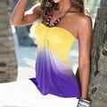 Atractivo de las mujeres Sin Tirantes de La Blusa Tops 2016 Señoras Del Verano de la Raya Vertical Del Cuello Sin Mangas de Gradiente de Colores Del Hombro Camisas Blusas Casuales Tops