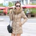 2016 womenjacket e parques de algodão casaco jaqueta acolchoada versão Coreana longa seção de solto casaco de inverno gola de pele das mulheres plussize