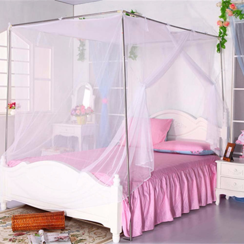 Moustiquaire Canopy White Four Corner Post Student Canopy Bed Mosquito Net Netting Queen King Twin Size Bedding Home Textile