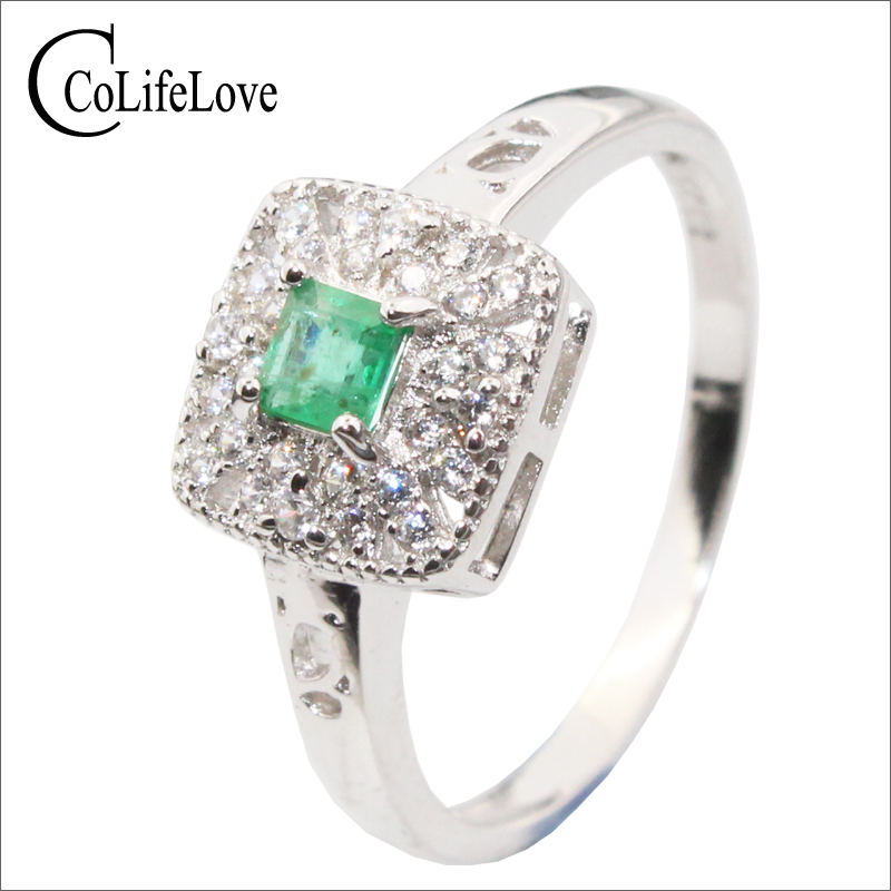 Romantic silver emerald wedding ring for woman 3 mm 3 mm natural SI grade emerald silver